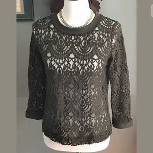 Banana Republic Olive Green Lace Button Back Top